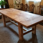 Vintage wood kitchen table with large end caps