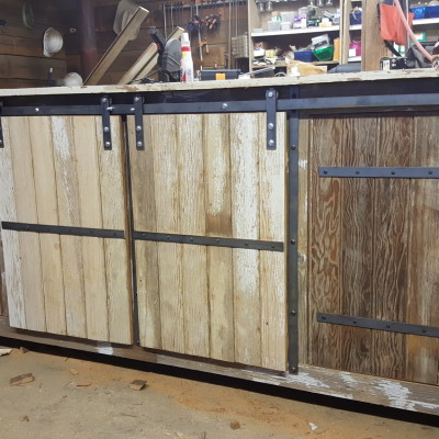 Coffee Bar Cabinet for customer's business. featuring sliding doors